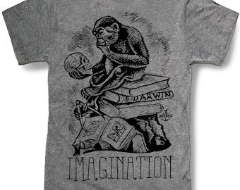 DARWIN MONKEY Ape Mens t shirt Evolution of Man Imagination Science Humanities Medical Theme Biology - sizes sm med lg xl xxl skip n whistle