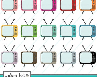 SALE! Retro Television-TV- Clipart Set, Commercial Use, Instant Download, Digital Clipart, Digital Images-MP218