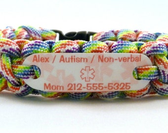 Autism Child ID Bracelet, Waterproof medical ID alert bracelet for children or adults, Autism awareness, Non Verbal, Special needs wristband