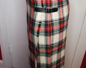 Vintage 1970's Wool Plaid Archie Brown & Son Pleated Skirt