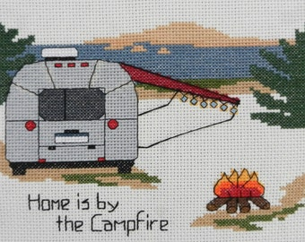 "KIT - Camping Counted Cross Stitch - ""Airstream Home is by the Campfire"""