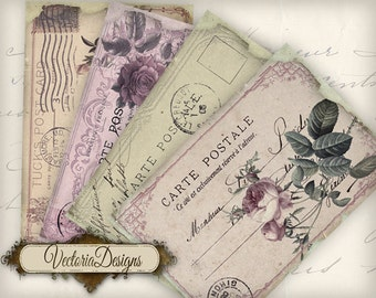 Tattered Postcard Papers 6 x 4 inch printable images instant download digital collage sheet VD0611