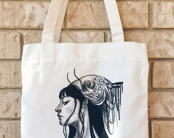 Canvas Zip Tote Bag - Fish Head - Limited Edition