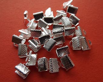 Clasps claws tape 8 mm x 8 mm bright silver metal (x 20)