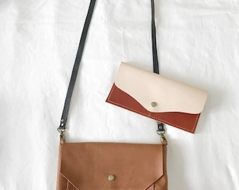 mini leather cross body sling / brown leather purse / small leather handbag / small shoulder bag