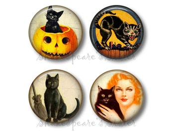 Black Cat Magnets - Fridge Magnets - Halloween Magnets - 4 Magnets - 1.5 Inch Magnets - Kitchen Magnets - Vintage Halloween