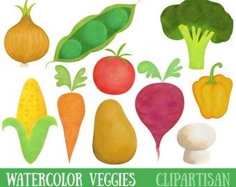 Waterolor Vegetables Clipart | Healthy Food Clip Art | Veggies