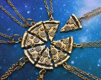 Gold Pizza Necklace, 18 thin chain, Friendship slice necklace
