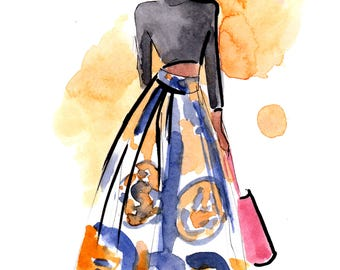 Custom Original Watercolour Fashion Sketch Portrait