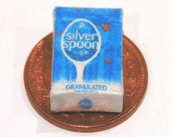 1:12th Scale Dolls House Miniature Empty Silver Spoon Sugar Packet