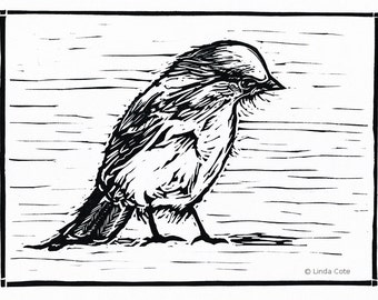 Little Grey Jay, Linocut Relief Print, Hand Pulled Fine Art, Limited Edition, Printmaking Original