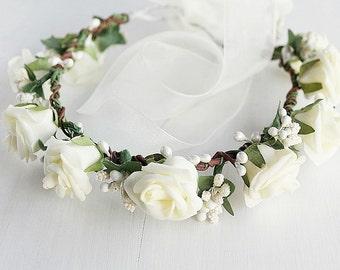 Cream Rose Crown, Flower Girl Wreath, Rustic Halo, Woodland Crown, Boho Rose Crown, Festival Crown, Flower Girl Crown, Cream Bridal Halo