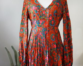 60s/70s Pleated Paisley Mini Dress XS/S