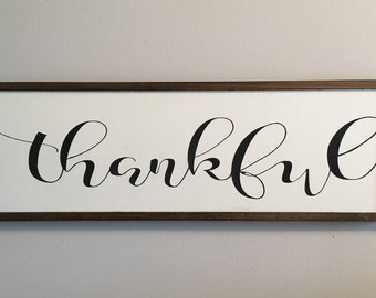 Thankful rustic farmhouse wooden sign