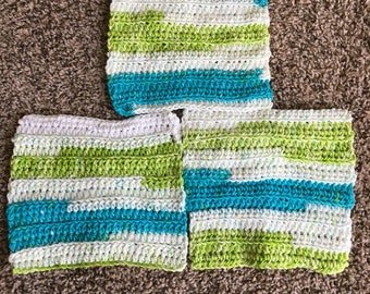 3 Crochet dishcloths