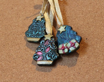 Polymer Clay Christmas Tree Ornament Set of 2