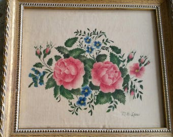 Framed Stencil on wool painting tole