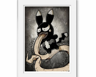 Venom Pikachu Pokemon Print, Marvel Comics, Comic, Illustration, Geek Art Gift