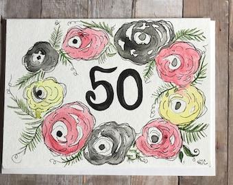 50th Birthday Card, Watercolor 50th Birthday Card,  Original 50th Birthday Card
