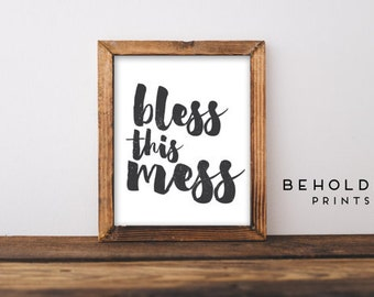 Dorm Wall Art, Bless This Mess, Dorm Decor, Calligraphy Print, Quote Print, Scripture Wall Art, Bible Quotes, Hand Lettered Truth