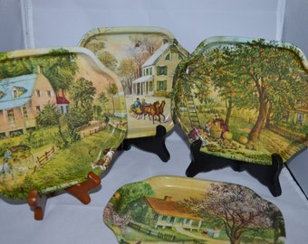 Currier and Ives / metal trays / 4 scenes / winter / spring / summer / fall / metal trays / vintage trays / vintage metal trays / green