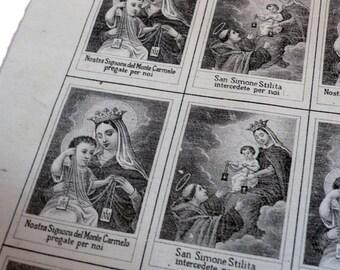 2pcs SCAPULAR CLOTH SQUARES 1860s Saint Simon Stylites
