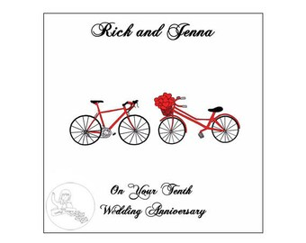 Handmade Personalised Tenth Wedding Anniversary Card 10th Road Bikes Bicycle Hearts Tin