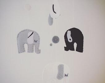 Monochrome Black, White & Grey Felt Elephant Mobile