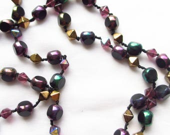 Hand Knotted Necklace Vintage Czech Glass Beads 27 Inches Wear or Re-use as Craft