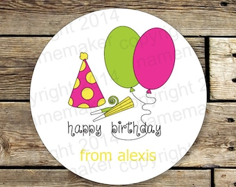 12 Personalized Gift Stickers, Personalized Gift Labels, Happy Birthday Labels, Personalized Party Stickers, Gift Stickers for Girls