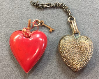 Two Old Hearts-Red Celluoid with Tiny Key, and Plated Brass Puffy Heart.  As is.  Free shipping