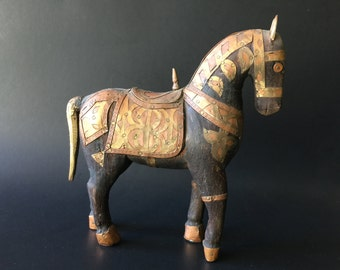 Vintage Folk Art Carved Wood Metal Horse Figurine