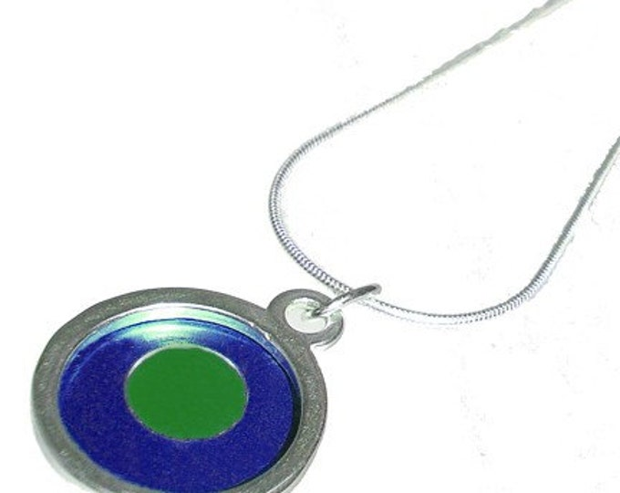 Small Two Tone round blue/green Pendant
