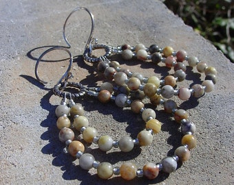 Crazy Lace Agate and Glass Seed Bead Earrings on Sterling Silver Ear Wires, One of a Kind Earrings, Boho Earrings