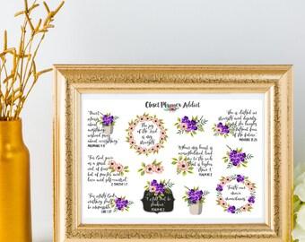 Christian Bible Verses Scriptures Planner Stickers | Floral Stickers | Christian Stickers | Bible Verses | Scripture Stickers (MS-012)