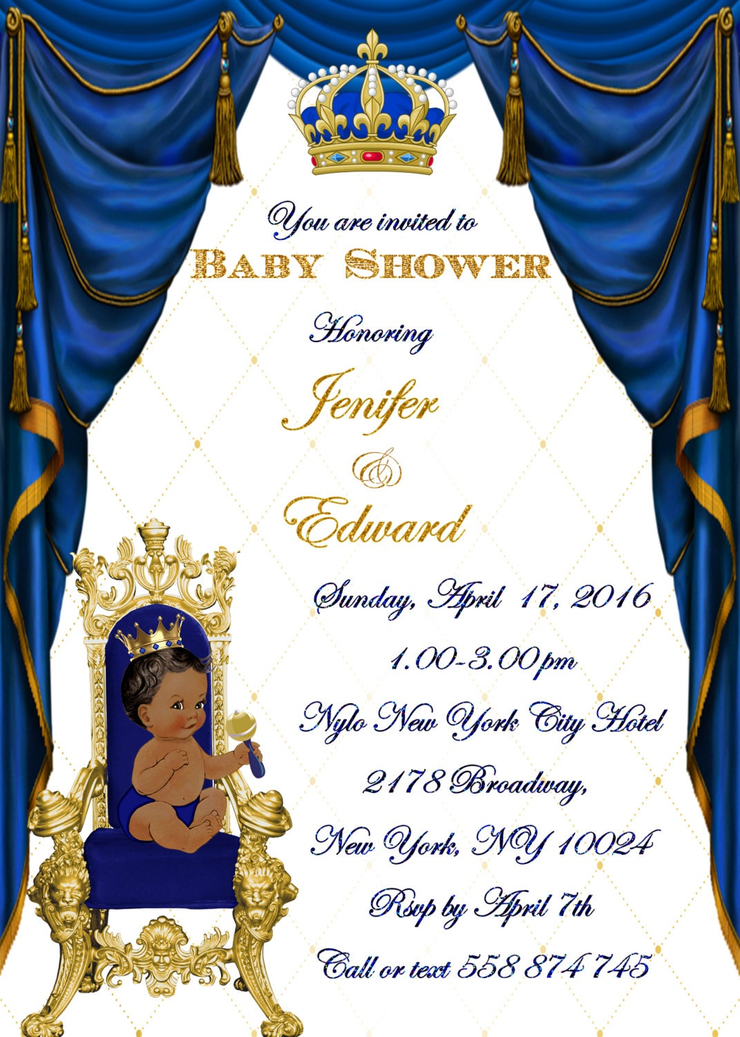 Royal Baby Shower Invitation, Little Prince Baby Shower Invitation ...