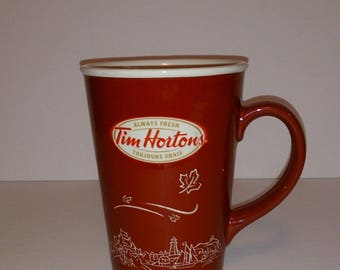 TIM HORTONS #010 Red Mug City-Scape Leaves Maple Leaf special edition