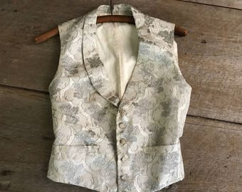 Antique Waistcoat Gilet, Couture Vest, Silk Damask, Linen, Cotton