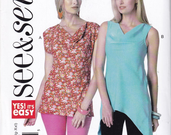 Free Us Ship Sewing Pattern Butterick 6309 Easy See & Sew Out of Print tunic Tops Size 4/26 Bust 29-46 Factory Folded