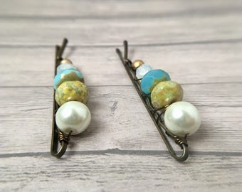 Wedding Bobby Pins, Pearl Hairpins, Prom Hair Jewelry, Accessories Women, Beaded Bobbypins, Spring Bride, Bridesmaids Gifts