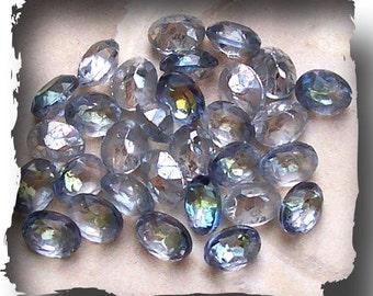 Vintage 9x7  Swarovski Crystal Bermuda Blue Cabachons