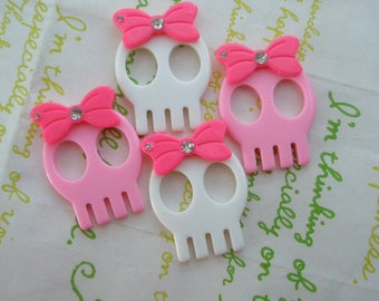 SALE Skull with bow and rhinestone 4pcs  2 colors mix (Type B)