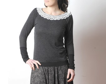 Dark grey sweater with vintage crochet lace collar, Grey and black womens top, MALAM, size UK 8