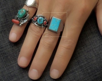 Vintage MENS Turquoise RING Native American Indian Jewelry, Sterling Silver NAVAJO Rings, Large Signet Size 12,  Summer Gift for Him