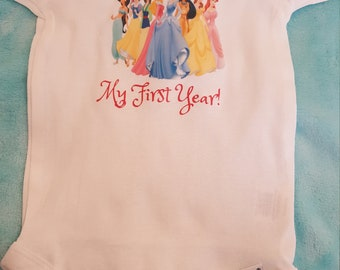 Princess themed monthly onesies, Month By Month Princess theme onesies