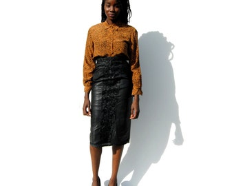 REDUCED PRICE!!!! Black leather pencil skirt with contrasting panels 1980s 80s VINTAGE