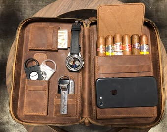 Cigar Leather Case - Santa Clara Series