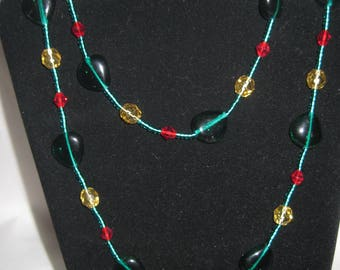 "30"" green beaded necklace"
