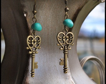 Mothers Day Whimsical Earring French Keys Dangle with Turqoise Nuggets. gift,friend,brass,Mothers Day, daughter,friend