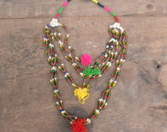 Indian vintage beads necklace, gypsy jewerly, afghan beads, kuchi necklace, african necklace, banjara, ethnic necklace, statement jewerly,
